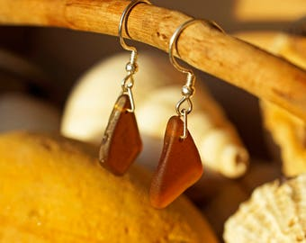 Amber Sea Glass and Sterling Silver Earrings