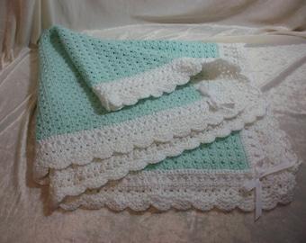 Crocheted Mint Baby Blanket
