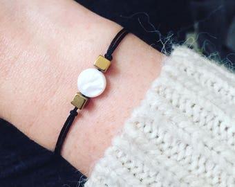 White Pearl and Golden Hematite cord bracelet