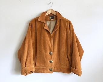 Oversized  Jacket | Leather and Chenile Button-Up Jacket | Vintage Coat | 80s Oversized Amber Jacket  | XS-S-M-L
