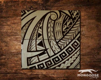 Wood burned Puzzle Coasters - Polynesian Tribal