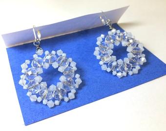 White beaded earrings, 1.5 inch earrings, bridal earrings
