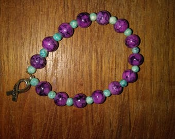 Hope ribbon charm bracelet