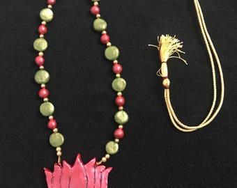 HandMade Lotus pendant Terrocotta Neckpiece