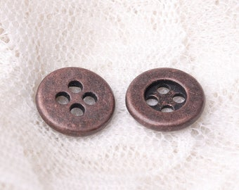 10pcs 11mm 4 hole button metal zinc alloy round copper button coat button sewing