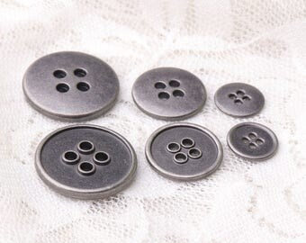 10pcs shirt buttons 4 holes buttons 3 sizes 20/15/10mm metal light black buttons round unsmoothed back side