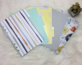 Stripey //SET of 5 dividers for use in a5 planners