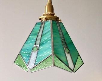 Pendant light green white glass Bayview