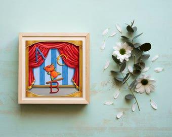 Juggling Bear, Circus Themed Nursery Art Print