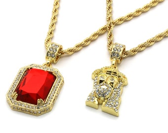 """New Men 14k Gold Plated High Fashion 2 pcs set Ruby & Jesus 4mm 30"""" And 24"""" Rope Chain"""