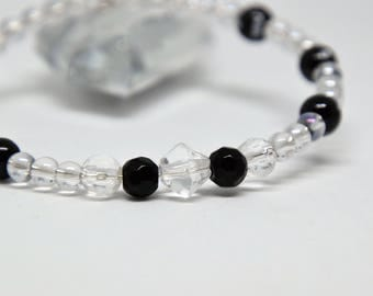 black and clear bead bracelet