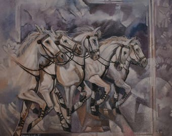 Vintage White Horse Stampede 20x20 Canvas Print