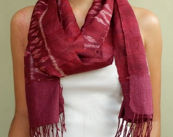 Handwoven authentic Silk Scarf made in Chiang Mai, Thailand