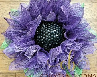 Burlap Sunflower Wreath, Purple Wall Decor, Front Door Wreath, Large Sunflower Wreath, Large Burlap Flower