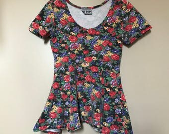 HI TOP Peplum Shirt 80s 90s