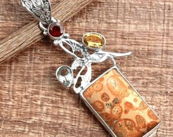 Mookaite Coral Jasper Gemstone Handcrafted 925 Sterling Silver Pendant