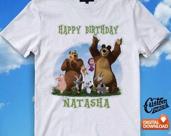 Masha and The Bear Iron On Transfer, Masha and The Bear Birthday Shirt DIY, Masha and The Bear Shirt Designs, Digital Files