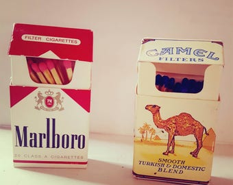 Miniature Marlboro Red & Camel Filters brand Matchboxes
