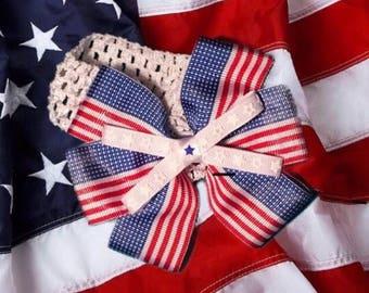 American Flag Baby Headband Hair Bow