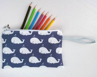 Case with whales, blue case, clutches with whales, blue clutch, sachet with whales, blue sachet, tricks holder, pen holders, blue pouch