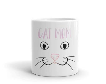 Cat Mom Mug made in the USA, Millennial Pink Cat Nose, Crazy Cat Lady, Cat Lover Gift, I Love Cats, Fun Cat Drawing, Kawaii Cats
