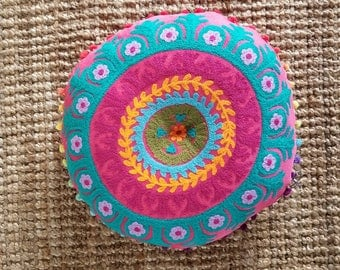 Bohemian Chic embroided pillow from India