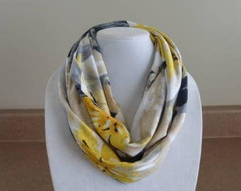 Beige and yellow floral infinity scarf