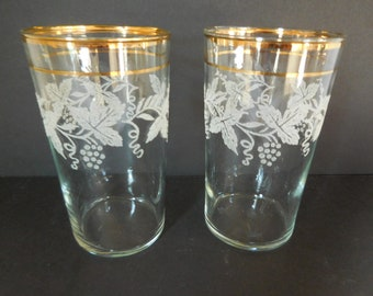 Vintage Bartlett Collins Frosted Grape Drinking Glasses Gold Rim/Set of Two