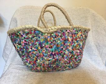 SUN Moroccan hand woven Basket 3 weaving eco friendly meditation organic rope handle beach straw bag large big round tote