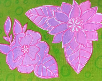 Pink, Purple, and Green Floral Canvas 8x10 inches