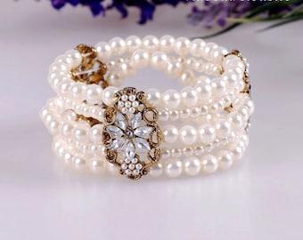 Pearl Shining Bracelet, Wedding Jewelry , Woman