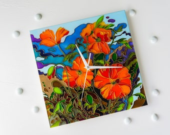Wall clock, Home clock, Glass Clock, Living room clock, Kitchen Clock, Poppies, Unique Wall Clock, Hand Painted Glass, Glass Painting
