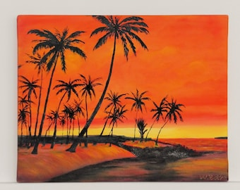 Greetings from Samoa oil on canvas painting unique signed