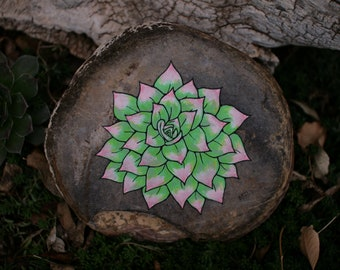 Hand painted rock with depiction of succulent