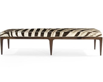 Genuine Zebra & Walnut Bench