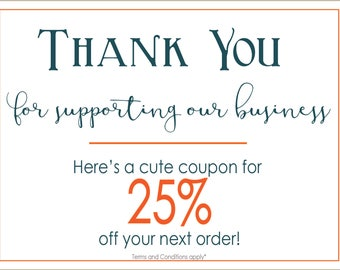 Thank You cards with discount offerings