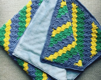 Crochet baby boy blanket.