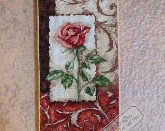 Single Rose - completed cross stitch