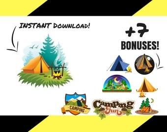 Camping SVG - Camper SVG - Summer SVG - Happy Camper svg - svg files - Camping Cut File - Camp svg - Silhouette - Camping Vector - Cricut