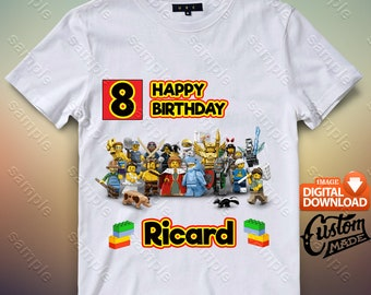 Lego Iron On Transfer, Lego Birthday Shirt DIY, Lego Shirt Designs, Lego Printable, Lego, Personalize, Digital Files