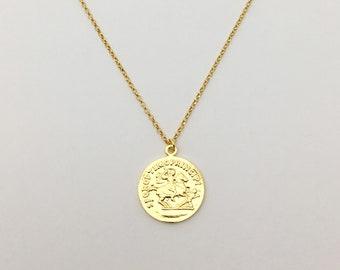 Gold coin Necklace Vermeil