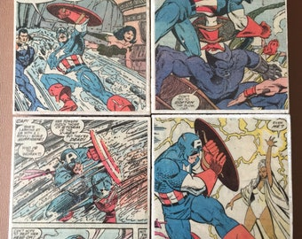 Vintage Captain America Comic Book Coasters