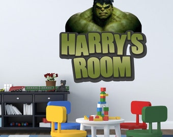 Any Name Incredible Hulk Wall Sticker Boys Bedroom Art Kids Marvel Avengers