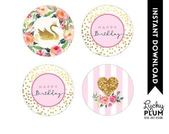 Swan Cupcake Toppers / Swan Round Labels / Swan Princess Cupcake Toppers / Woodland Round Labels /Princess Swan / *Digital Printable SW01