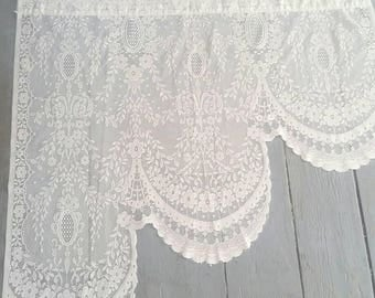 "Pair of vintage, white lace window curtains. Lace Window Toppers.  Sheer White Lace Window Curtains.Pair of Vintage White Curtains. 33x33""."