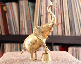 vintage brass elephant statue, brass circus elephant