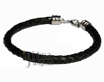 6mm black braided leather bracelet or anklet metal clasp