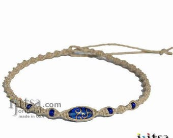 Natural Hemp Blue Glass Beads Surfer Style Twisted Choker Necklace