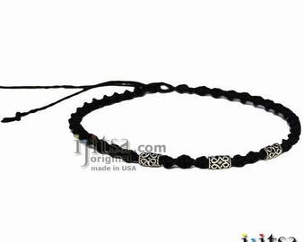 Black Twisted Hemp necklace with pewter tube rope edge beads
