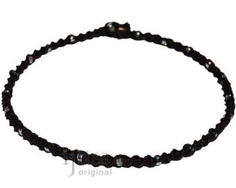 Licorice twisted hemp necklace with small silver glass beads throughout